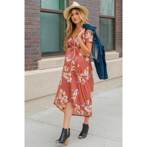 Pinkblush maternity floral hi-low wrap dress